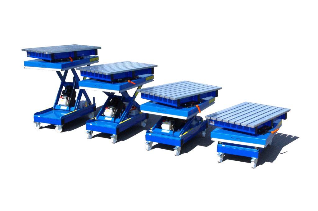 Подъемные сборочно-сварочные столы с основанием типа ножниц (передвижные)